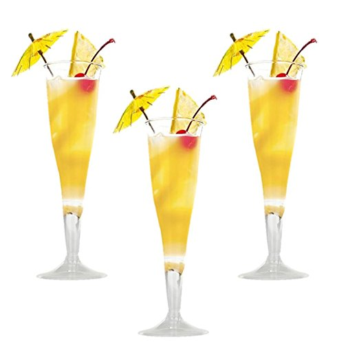 Hard Plastic Clear Champagne Flutes. 6 Ounce Capacity, Set of 18 Disposable Glass Drinkware.
