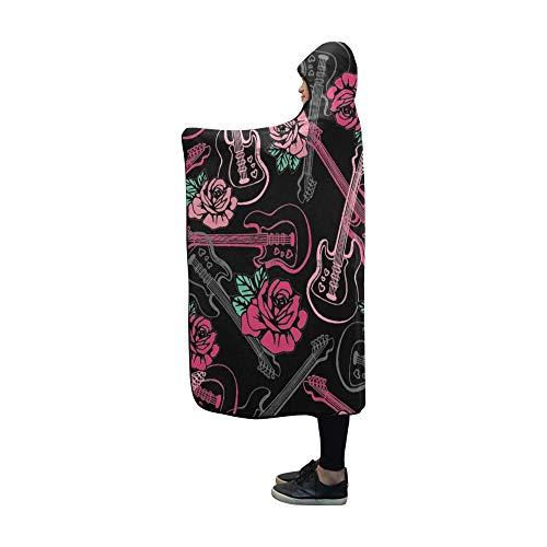 YUMOING Hooded Blanket Guitars N Roses Repeat Wallpaper Blanket 60x50 Inch Comfotable Hooded Throw Wrap ()