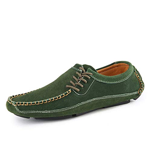 - Men's Leather Boat Shoes Loafers & Slip-Ons Driving Walking Outsole Casual Shoes Green