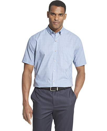(Van Heusen Men's Big and Tall Flex Short Sleeve Button Down Check Shirt, blue thunder, 2X-Large Tall)
