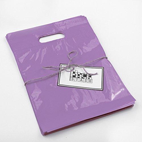 Packstash 11 x 15 x 3-Inch LILAC PURPLE Retail Merchandise Plastic Shopping Bags, M-Type (100 QTY)