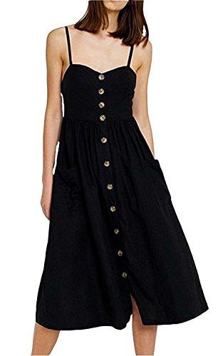 Gyozelem Womens Dresses Summer Floral Swing Midi Dress Spaghetti Strap Button Down Dress with Pockets Pure Black US 0/2 2 Pocket Button