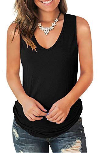 (Jescakoo Cute Sleeveless Shirts Women Solid Color Deep V Neck Tank Tops Black XL)
