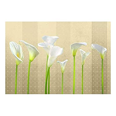 Arum Lilies with Copper Striped Heart Textured Background - Wall Mural, Removable Sticker, Home Decor - 66x96 inches