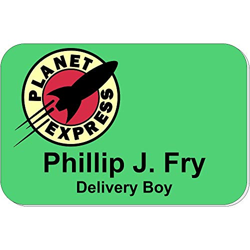 Planet Express Name Tag, Funny Halloween Name Tags, Futurama Halloween Costume Black -