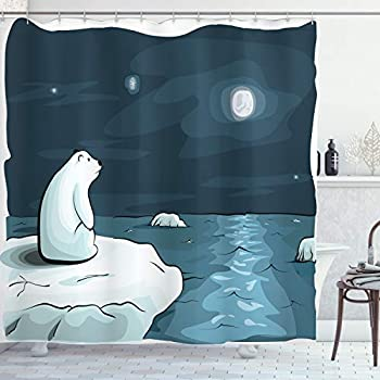 Ambesonne Winter Shower Curtain, Cartoon Style Hand Drawn Polar Bear in The Arctic Staring at The Moon Image Print, Cloth Fabric Bathroom Decor Set with Hooks, 70
