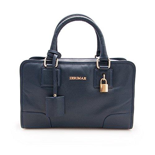 Mujer Marino Color Grande Bolso Cm Azul Auténtica Mano 30x20x14 Piel Bolsos Cuero De Medidas Zerimar Para RUS7ISq