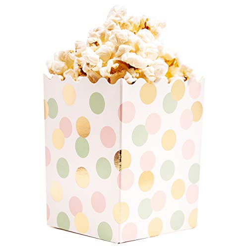 Mini Popcorn Boxes - 60-Pack Small 16oz Popcorn, Candy Favor Boxes, Gold Foil and Pastel Polka Dot, Baby Shower Party -