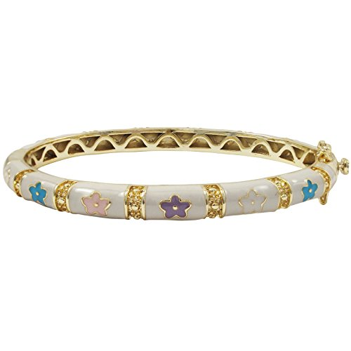 (Ivy and Max Gold Finish White Enamel Multi-Color Flowers Girls Bangle Bracelet (50 mm - Age 6-13)