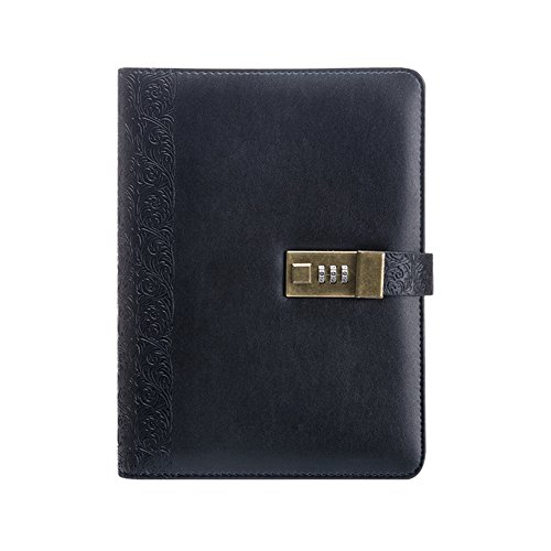Longpro Vintage European Style Retro PU Leather Writing Journal Notebook, A5 Size Refillable Loose Leaf Password Diary Notepad with Combination Lock, Card Slots, Pen Holder(Pen Included) (Black)