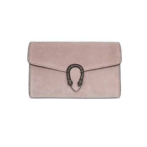 RACHEL CLUTCH Italian clutch shoulder crossbody chain bag, designer evening purse, suede genuine leather (clutch antique pink) by MYITALIANBAG
