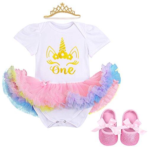 IBTOM CASTLE Little Girl Newborn It's My 1st Birthday Cake Smash Outfits Romper+Shoes+Headband Tutu Baby Princess Dress Set 3pcs White Unicorn +Pink 12-18 Months