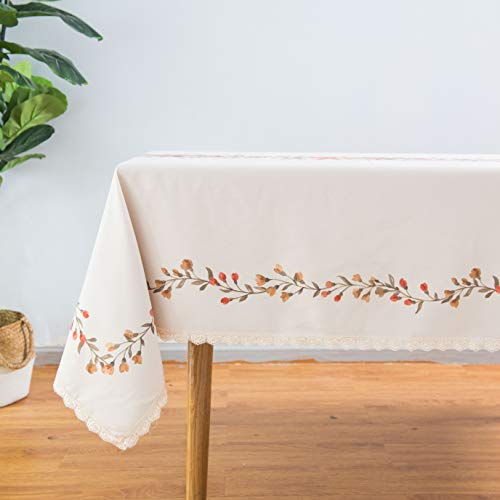 Wewoch Tablecloth Rectangle Table Cloth Cotton Linen Washable Floral Print Waterproof Table Cover for Kitchen Dinning Party (Floral Cotton Linen Print)
