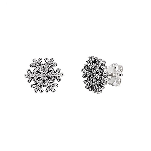 fe1319c34 ... real amazon pandora earring studs snowflake with clear cubic zirconia  jewelry 056b4 936c5
