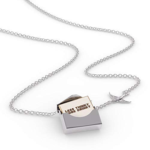 NEONBLOND Locket Necklace Less Thinky More Drinky Roasted Coffee Beans in a Silver Envelope