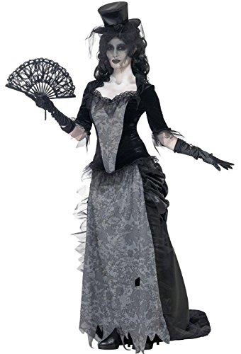 Smiffy's Women's Ghost Town Black Widow Costume, Top, Skirt and Hat, Ghost Town, Halloween, Size 10-12, (Top 10 Women's Halloween Costumes)