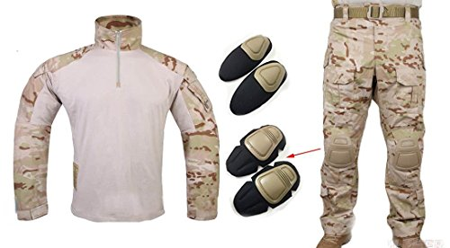 ilitary Emerson Gen3 G3 Men Shooting Hunting Combat Camo Suit (Shirt & Pants With Protective Elbow Knee Pads) MCAD (XXL) ()