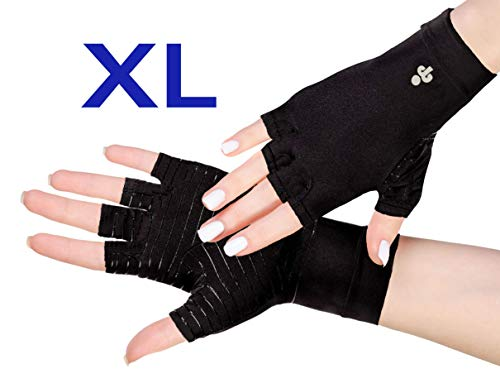 iPerson® Arthritis Gloves Copper Infused Compression Guaranteed to Speed Up Recovery Relieve Symptoms of Arthritis RSI Carpal Tunnel Tendonitis for Men & Women - 1 Pair (XLarge)