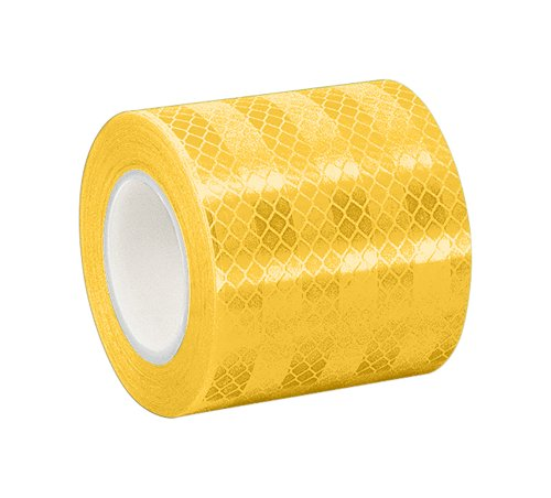 3M 3431 Yellow Micro Prismatic Sheeting Reflective Tape - 1.5 in. x 15 ft. Non Metalized Adhesive Tape Roll. Safety Tape (Best Hid Color For Visibility)