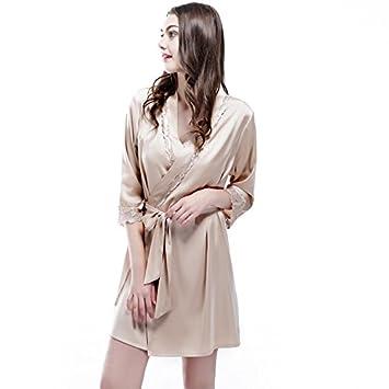 Wanglele Frühling Und Sommer Kimono Schlafanzug Satin Lace Kleid ...