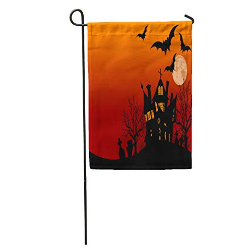 (Semtomn Garden Flag Spooky of Halloween Haunted House Surrounded by Bats Party Abandoned Home Yard House Decor Barnner Outdoor Stand 12x18 Inches)
