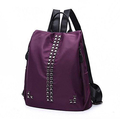 Aoligei Sac à bandoulière double version coréenne Fashion rivet nylon sac de toile tissu Oxford sac à dos A