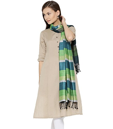 s Pashmina Silk Woven Soft Scarf, Scarves, Wraps [Size: 28 X 80 Inches] Green ()