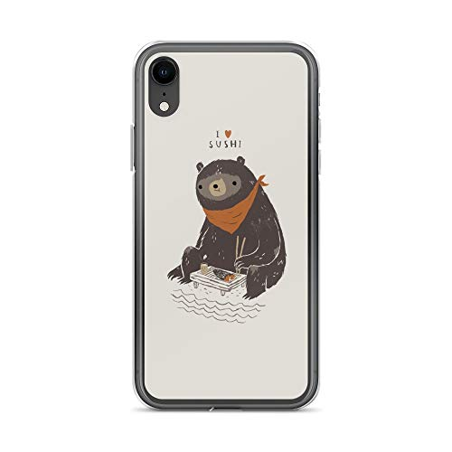 iPhone XR Case Anti-Scratch Creature Animal Transparent Cases Cover Bears Love Fresh Sushi Animals Fauna Crystal Clear