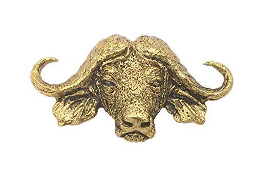 African Cape Buffalo Head Premium 22k Gold Plated Rare Earth Refrigerator Magnet Gift, MG090PRM