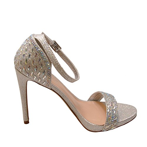 Blossom Angie 39 Womens Embellished Formal Heels Silver Sparkle uyNwc