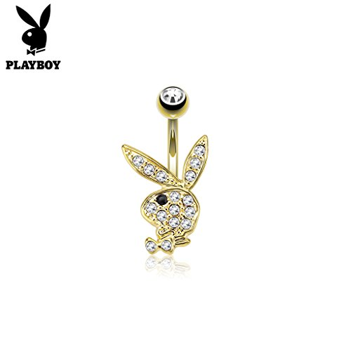 West Coast Jewelry {Clear/Black} Multi Paved Gems on Playboy Bunny 14kt Gold Plated Navel Belly Button Ring (Sold Ind.) (West Coast Belly Rings)