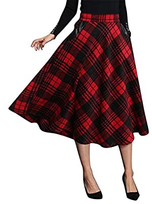 Jotebriyo Womens Leather Splicing Vintage Swing Plaid Print Wool Blend Long Skirts