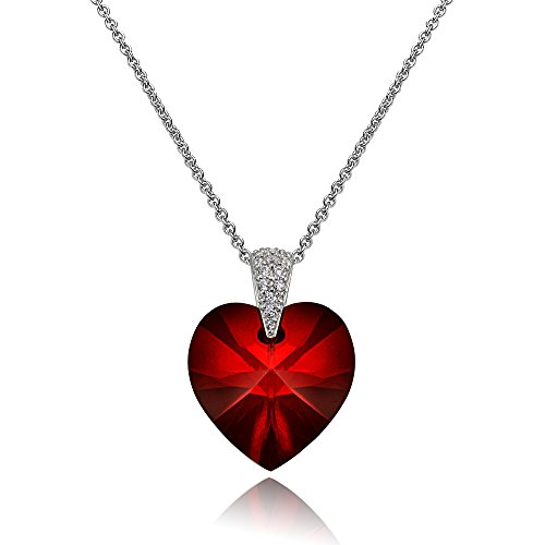 Sterling Silver Red Love Heart Pendant Necklace for Women Girls Made with Swarovski Crystals
