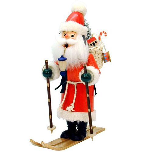 German Incense Smoker Santa Claus with Skis - 29,0 cm / 11 inch - Authentic German Erzgebirge Smokers - Christian Ulbricht by Christian Ulbricht