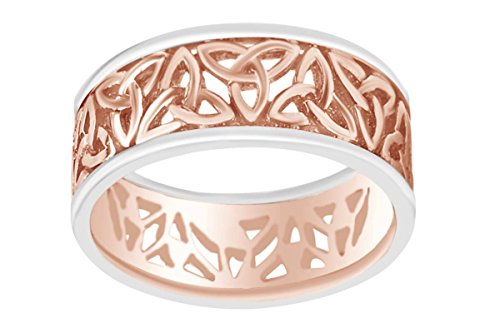 AFFY Men's Hip Hop Two Tone Trinity Wedding Band Ring In 14k Solid Rose Gold Ring Size-10.5 by AFFY