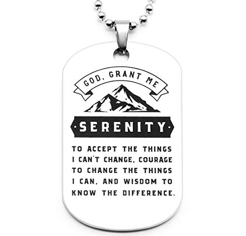 Inkstone Serenity Prayer Mountain Dog Tag Pendant Necklace - Faith Sobriety Recovery Jewelry Accessories for Men Women (Silver Tone)