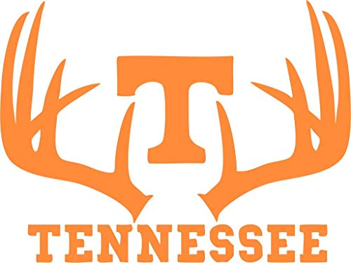 (All About Families UT ~ University of Tennessee Vols Logo with Deer Antlers ~ Orange ~ Window Sticker/CAR/Truck/RV/Boat with Alcohol PAD~ Size 8