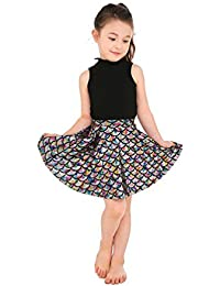 Shiny Cute Fish Scales Knee Length Mermaid Tail Mini Flared Skater Skirts for Girls 5T-12T