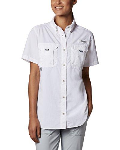 Columbia Womens Bahama Short Sleeve Fishing Shirt (White, Small)