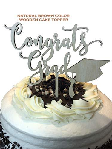 (Congrats Grad Graduation Cake Topper - Class of 2019 Graduate Supplies - Wooden Unisex Brown Wood Top - High School Senior College Diploma - Cake Pick by Jolly Jon)