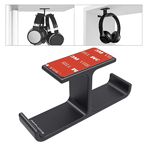 Headphone Headset Holder, APPHOME Headphones Stand Hanger Hook Aluminum Stick-On 3M Adhesive Under Desk Dual Headsets Holder Mount Gaming Accessories for All Headphones, Black (Best Headset For Gaming And Musics)