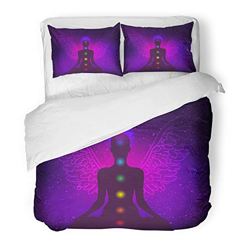 Emvency Bedding Duvet Cover Set Full/Queen Size (1 Duvet Cover + 2 Pillowcase)Meditation Silhouette In Lotus Position With Wings Over Night Sky New Age Symbol Hotel Quality Wrinkle and Stain Resistant