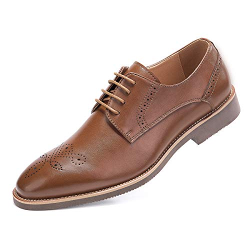 - Men's Derby Dress Shoes Classic Lace Up Plain Toe Oxford Shoes Brown 12