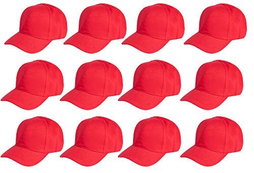 Juvale Plain Baseball Caps - 12-Pack Unisex Cotton Dad Hats,