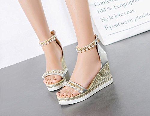 Carolbar Womens Zip Rhinestones Beaded Chains Open Toe Wedges Sandals Silver 8buhT1Z6