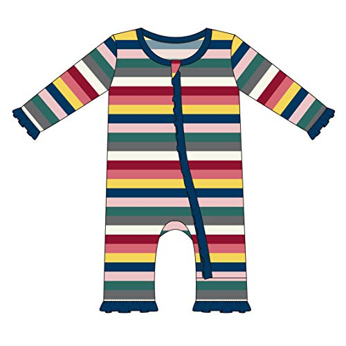 London Zipper - Kickee Pants Little Girls Print Layette Classic Ruffle Coverall with Zipper - Bright London Stripe, 0-3 Months