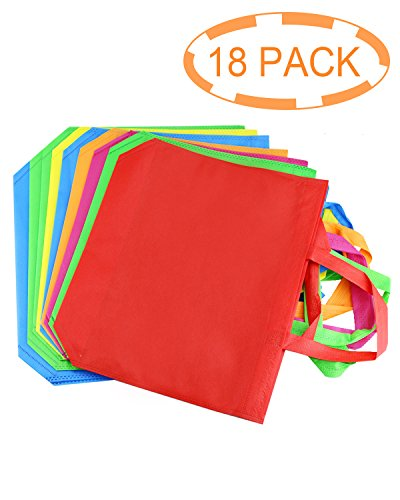 """Amersumer 18Pack 13""""Party Gift Tote Bags,Polyester Non-Woven Material,Assorted Colorful Blank Canvas Bags,Rainbow Colors With Handles For Birthday Favors, Snacks,Delivery Bag,Rainbow tote bag."""