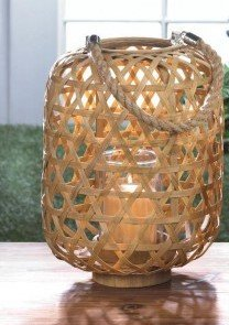 Candleholders Lanterns LARGE BAMBOO WOVEN LANTERN Woven Clear Glass (Large Woven Bamboo)