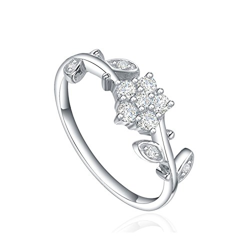 Star Harvest Women Fashion Jewelry with AAA Cubic Zircon Stones Twin Flower Leaf Engagement Ring Size 7, Promise Rings for Couples by SH-STAR HARVEST