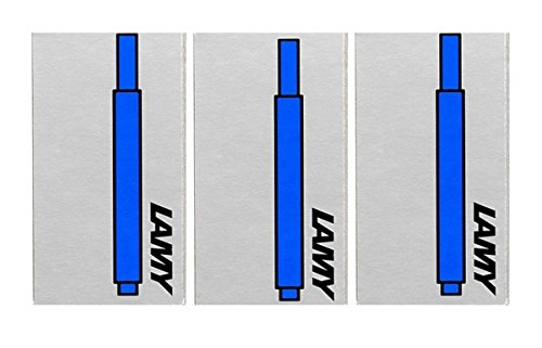 Lamy T10 Washable Blue Fountain Pen Ink Cartridges Refills Spare Replacement For All Lamy Fountian Pens (Pack Of 3 - 15 Ink Cartridges)